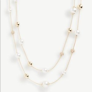Rose Gold and Pearl Long Necklace Ann Taylor Facto